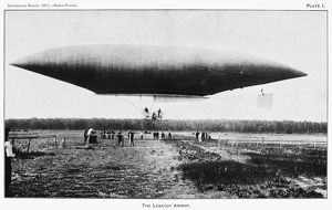 THE LEBAUDY AIRSHIP, 1903. French airship in flight, 1903.