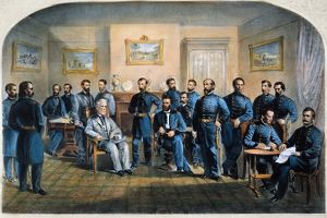 LEE'S SURRENDER, 1865. The surrender of General Lee to General Grant at Appomattox Court House