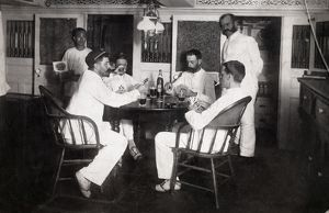 LIFE ON NAVAL SHIP, c1885. Officers relaxing below deck onboard the USS Mohican