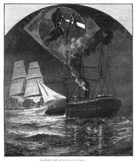 LIGHTSHIP, 1881. 'The Electric Light at Sea.' Engraving after a drawing by J.O