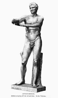 Line engraving, late 19th century, after an ancient Greek statue of an athlete scraping off oil