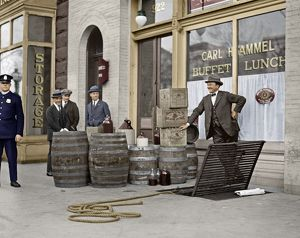 LIQUOR RAID, 1923. Prohibition officers with beer and wine recovered during a raid