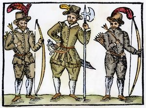 LONGBOWMEN, 16th CENTURY. English longbowmen and a halberdier (center). Woodcut