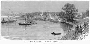 MANCHESTER SHIP CANAL, 1887. The end of the Manchester Ship Canal at Eastham