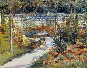 MANET: GARDEN, 1881. My Garden, or The Bench. Oil on canvas by Edouard Manet.