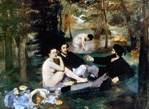 MANET: LUNCHEON, 1863. Luncheon on the Grass. Oil on canvas by Edouard Manet.