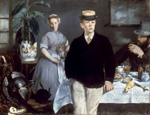 MANET: LUNCHEON, 1868. Luncheon in the Studio. Oil on canvas by Edouard Manet.