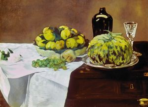 MANET: MELON, 1866. Still Life with Melon and Peaches. Canvas, 1866, by Edouard Manet.