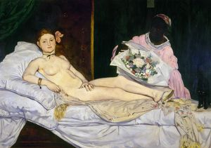 MANET: OLYMPIA, 1865. Oil on canvas, 1865, by Edouard Manet.