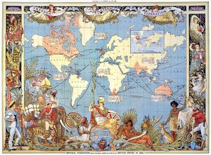 MAP: BRITISH EMPIRE, 1886. Map, 1886, of the British Empire by Walter Crane. The small insert shows