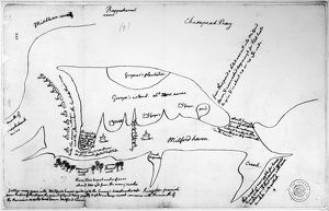 Map drawn by Thomas Jefferson of Milford Haven on Chesapeake Bay and vicinity, showing