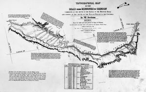 MAP: OREGON TRAIL, 1846. Topographical map, 1846, by Charles Preuss, surveyor