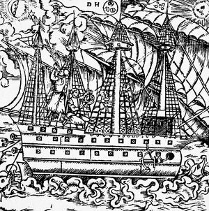 MARINERS SIGHTING, 1557. Mariners sighting on a star with a cross-staff (left)