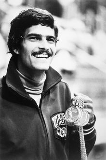 MARK SPITZ (1950- ). American swimmer. Photographed with five gold medals he won