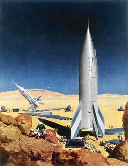 MARS MISSION, 1950s. American magazine illustration by Chesley Bonestell, early 1950s