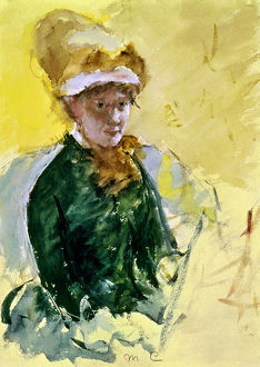 MARY CASSATT (1845-1926). Self-portrait, watercolor. c1880.