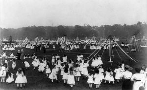 holidays/may day c1910 group schoolgirls dancing field