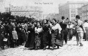 holidays/may day parade 1910 group women marching arm in arm