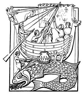 mythology/medieval whale medieval woodcut showing sailors