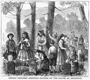 MEMORIAL DAY, 1868. Orphan children laying wreaths and strewing flowers on the