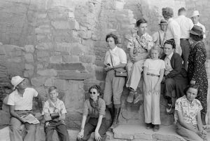 MESA VERDE: TOURISM, 1939. Tourists at cliff dwellings in Mesa Verde National Park