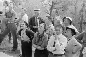 whats new/mesa verde tourism 1939 tourists looking native