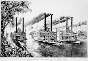 MISSISSIPPI RIVER RACE, 1866. 'The Champions of the Mississippi--'A Race