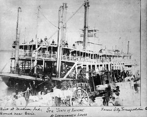 MISSOURI RIVER STEAMBOAT. The steamboat 'State of Kansas' moored along the