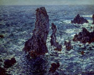 MONET: BEL ÎLE, 1886. Cliffs at Belle-Île. Oil on canvas by Claude Monet, 1886.