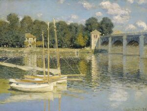 MONET: THE BRIDGE, 1874. 'The Bridge at Argenteuil.' Oil on canvas, Claude Monet