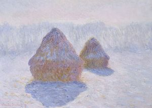 MONET: HAYSTACKS, 1891. 'Haystacks (Effect of Snow and Sun).' Oil on canvas