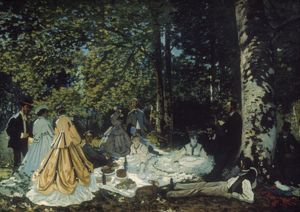 MONET: LUNCHEON, 1866. Luncheon on the Grass. Oil on canvas, 1866, by Claude Monet.