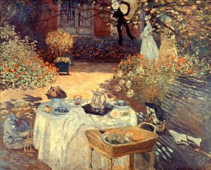 MONET: LUNCHEON, c1873. The Luncheon. Oil on canvas by Claude Monet, c1873.