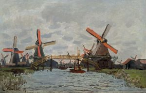 MONET: MILLS, 1871. 'Mills at Westzijderveld near Zaandam.' Oil on canvas