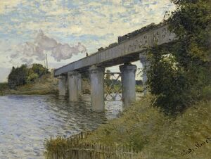 MONET: RAILROAD BRIDGE. 'The Railroad Bridge at Argenteuil.' Oil on canvas