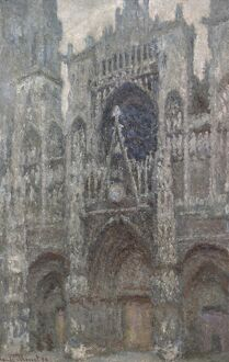 MONET: ROUEN CATHEDRAL. 'The Rouen Cathedral, Portal, Grey Weather.' Oil on canvas
