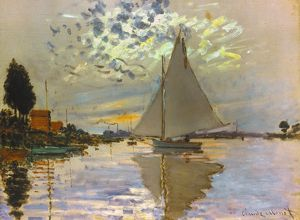 MONET: SAILBOAT at Petit-Gennevilliers. Oil on canvas, 1874.