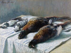 MONET: SILL LIFE, 1879. 'Still Life with Pheasants and Plovers.' Oil on canvas