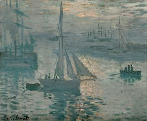 MONET: SUNRISE, 1873. 'Sunrise (Marine).' Oil on canvas, Claude Monet, Spring 1873