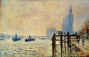 MONET: THAMES, 1871. Claude Monet: The Thames below Westminster. Oil on canvas, 1871.