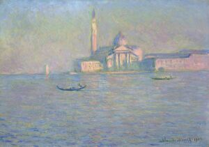 MONET: VENICE, 1908. 'The Church of San Giorgio Maggiore, Venice.' Oil on canvas