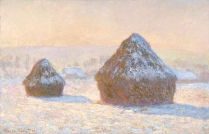 MONET: WHEATSTACKS, 1891. 'Wheatstacks, Snow Effect, Morning.' Oil on canvas
