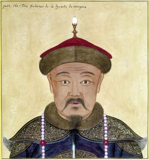 Mongol khan and founder of Mongol dynasty in China. Chinese painting.