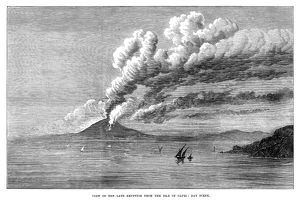MOUNT VESUVIUS, 1872. The eruption of Mount Vesuvius as seen from Capri, 1872