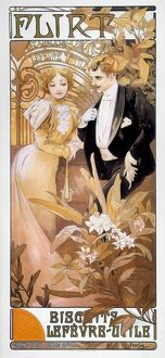 MUCHA: BISCUIT AD, c1895. 'Flirt': French lithograph advertisement, c1895