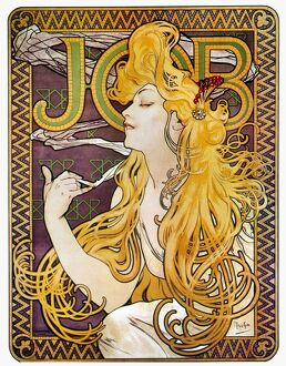 MUCHA: CIGARETTE PAPERS. French lithograph advertising poster, c1897, by Alphonse