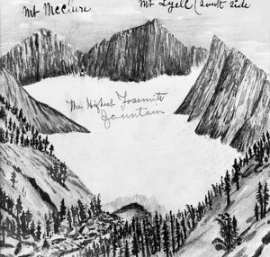 MUIR: YOSEMITE, c1890. Mount Maclure, Mount Lyell and the highest Yosemite fountain