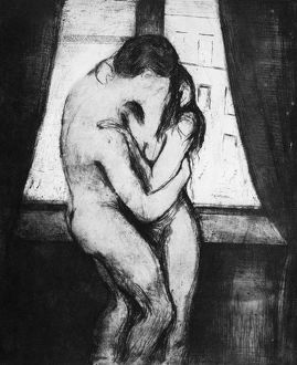 MUNCH: THE KISS, 1895. Drypoint and aquatint by Edvard Munch.