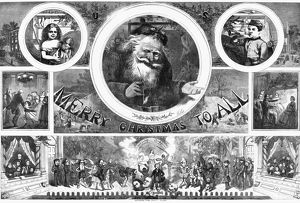 NAST: CHRISTMAS, 1865. 'Merry Christmas to All.' Engraving by Thomas Nast, 1865