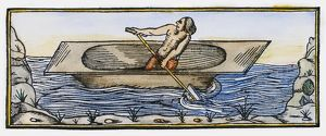 NATIVE AMERICAN CANOE, 1547. A Native American man paddling a dugout canoe